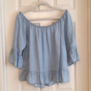 Baby Blue Off-the-Shoulder Blouse